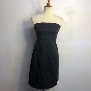 Theory black strapless cotton dress size 8